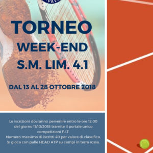 13/10/2018<BR>TORNEO WEEK END LIM.4.1 &#8211; S.M.